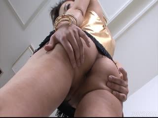 Naughty Yuki Asami with hot ass up licks dildo